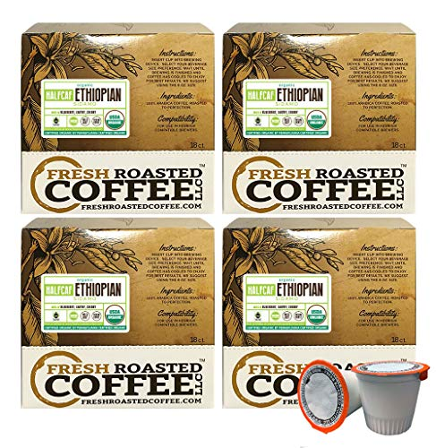 Fresh Roasted Coffee LLC, Water Half Caf Organic Ethiopian Sidamo Coffee Pods, Medium Roast, Fair Trade, USDA Organic, Capsules Compatible with 1.0 & 2.0 Single-Serve Brewers, 72 Count