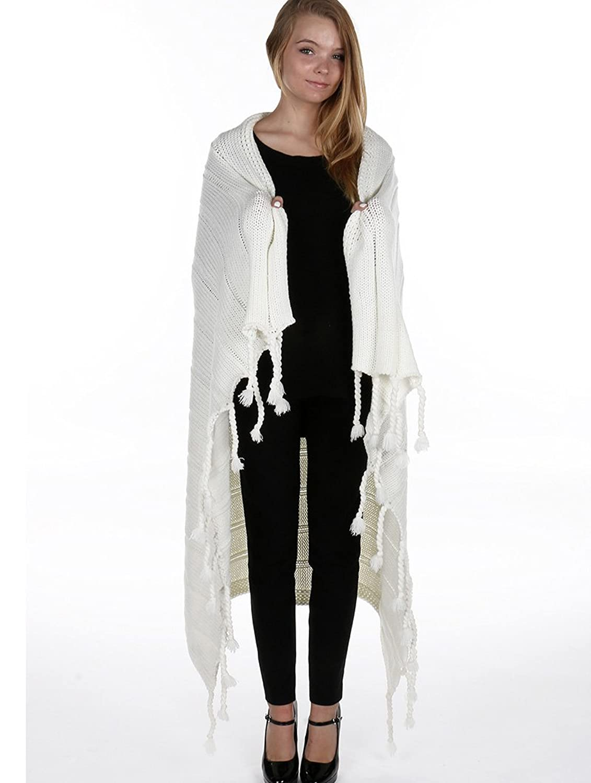 Parisian Chic Scarf Soft Knit Throw Blanket Tassel X Acrylic One Size Winter Knit White