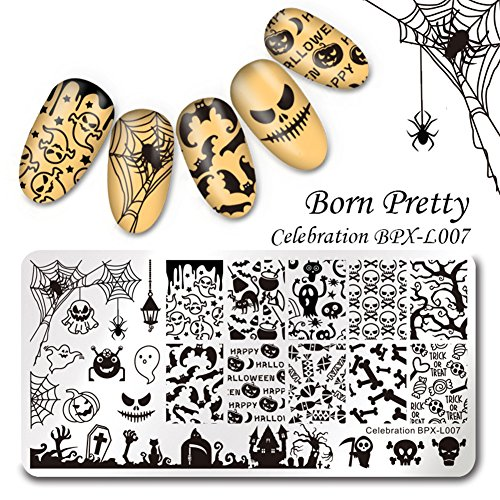 Born Pretty Nail Art Stamp Template Halloween 12X6cm Rectangle Image Plate Celebration (Halloween Nails)