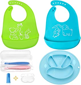 Sayopin 6PCS Premium Silicone Baby Feeding Set, Including Suction Baby Placemats Plates Easily Catch Food Baby Bib Soft Spoon and Baby Toothbrush, Comfortable for Baby and Convenient for Parents(Bee)