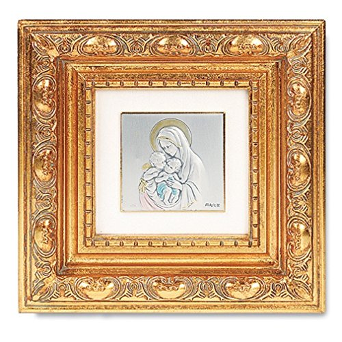 (Madonna and Child with Angel Silver Plated Icon Image in Gold Leaf Resin Frame)