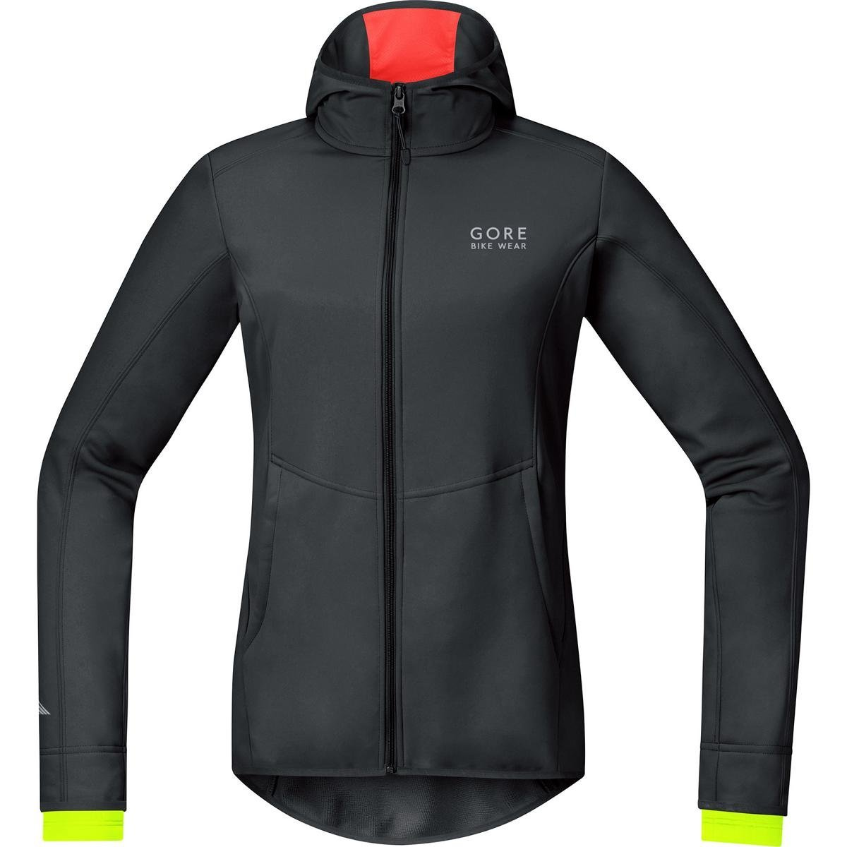 GORE WEAR Damen Element Windstopper Soft Shell Hoody Jacken & Anoraks Gore Windstopper Element Lady WS so Hoody Größe: 36 Schwarz/Neon Gelb