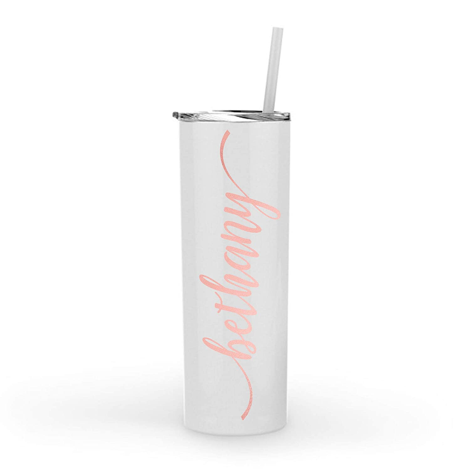 Monogrammed Stainless Steel Skinny Tumbler with Rose Gold Metallic or Glitter Vinyl Decal | 20oz White Powder Coated Double Wall Vacuum Insulated Tumbler | Personalized with Name, Word or Monogram