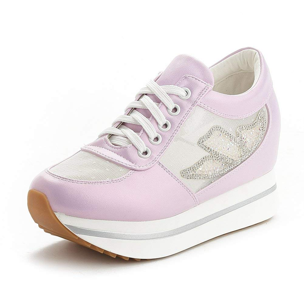 Bonrise Women Fashion Cz Mesh Low Top Lace-up Wedge Sneakers Platform Increased Height Casual Sports Shoes
