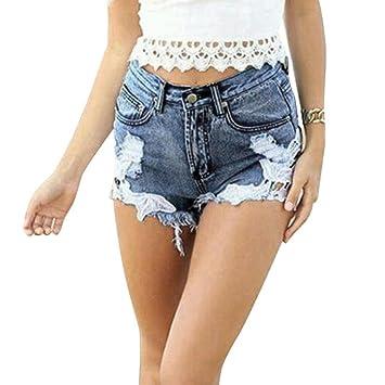 37d83732bed9db Damen Spitze Häkeln Tassel Hohe Taille Denim Shorts Lochjeans Jeans Hot  Pants mit Taschen Lässige Jeansshorts