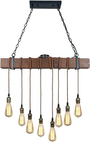 Unitary Brand Rustic Black Wood Hanging Multi Pendant Light