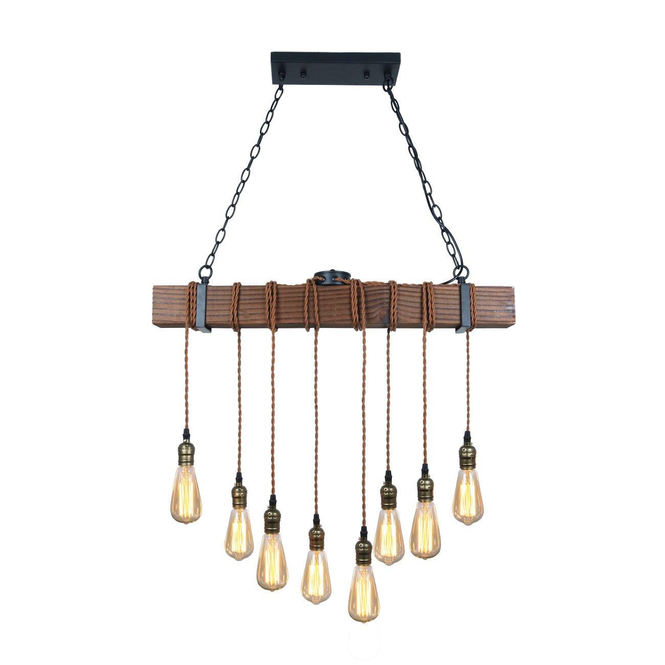 Unitary Brand Rustic Black Wood Hanging Multi Pendant Light with 8 E26 Bulb Sockets 320W Painted Finish