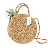 Straw Bag, Anumit Circle Straw Crossbody Bag Women Handwoven Round Rattan Bag Shoulder Bag Summer Beach Purse and Handbags
