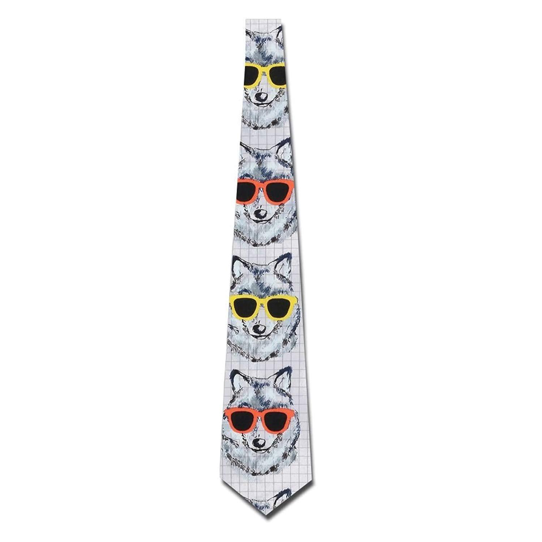 Men's Tie Necktie Neckwear Polyester Silk Neckcloth Wolf Sunglasses Multicolor Printed Neck Choker Women's