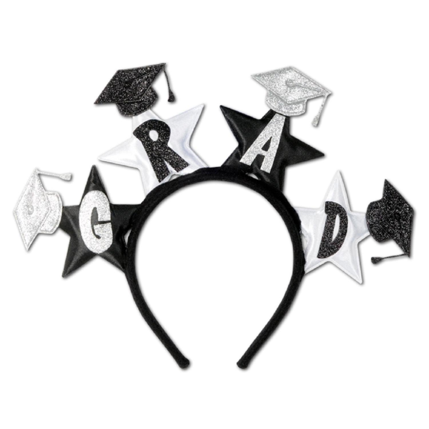 Club Pack of 12 Black and White Glittered Grad Headband Party Favors by Party Central