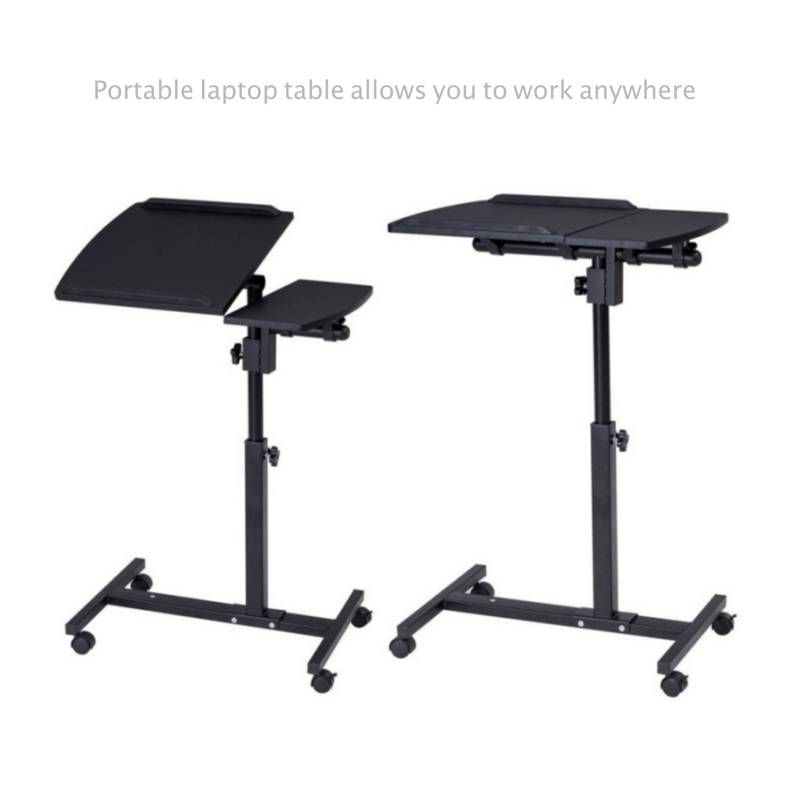 Laptop Notebook Smartphone Table Stand Portable Rolling Cart Height Adjustable Living Room Tray School Home Office Furniture Black #1822