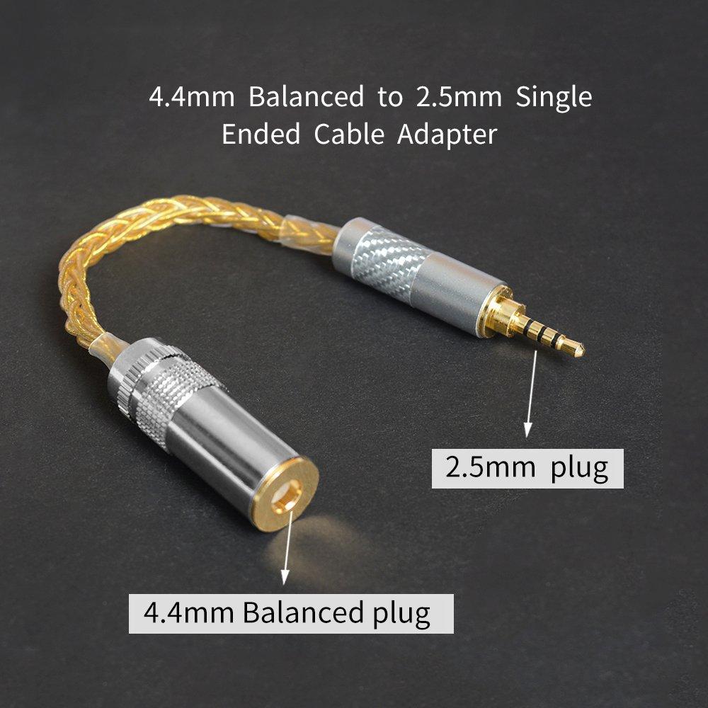 Conector Macho est/éreo de 2,5 mm a Conector de Conector Jack de Conector de Conector de Audio equilibrado de 4,4 mm Copper-Silver OKCSC M2F4
