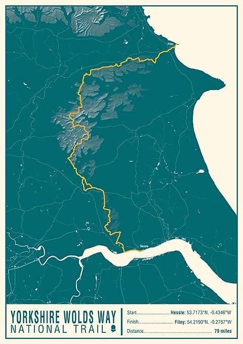 Amazon.com : Yorkshire Wolds Way National Trail Map Print - 16.75 x ...