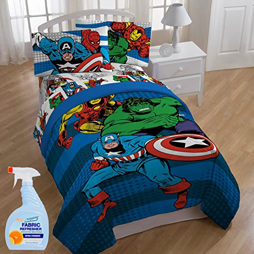 Marvel Comics Good Guys Kids 5-Piece FULL Size Bed in a Bag Reversible Comforter Set, Made of 100% Polyester with Fabric (Ruched Wallet)