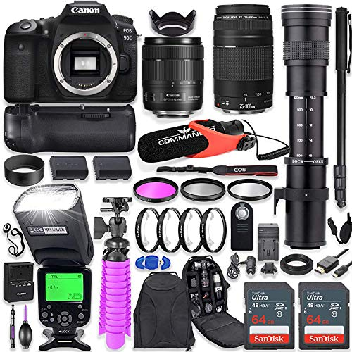Canon EOS 90D DSLR Camera Kit with Canon 18-135mm & 75-300mm Lenses + 420-800mm Telephoto Zoom Lens + Battery Grip + TTL…
