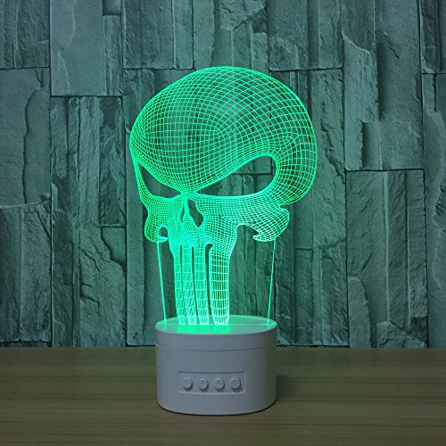 DOLPHINEGG Bluetooth Speaker with Colorful Changing Acrylic Skull USB LED Night Light Music Player 3D Lamp Birthday