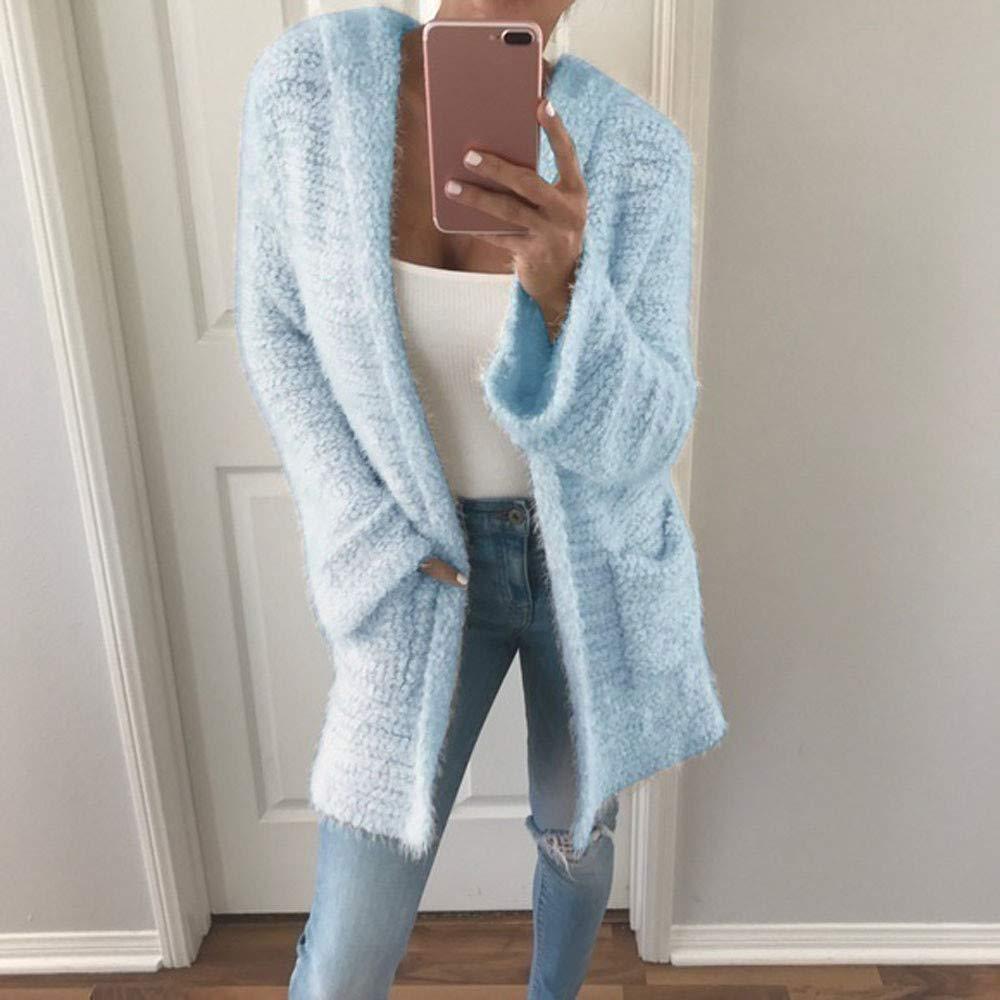 Luoluoluo Abrigos de Mujer Invierno Sudaderas Elegantes Ropa Sudadera de  Señoras con Capucha de Punto Cardigan Bolsillo de Manga Larga Casual Loose  Outwear ... 0fde463c5202