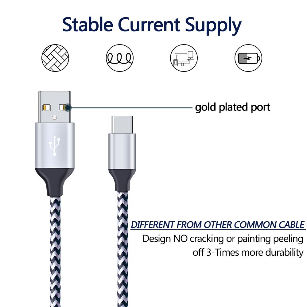 Samsung Galaxy Note 8 Fast Charger Cable, CIQILY 5-Pack 6FT Long Braided Quick Charging Cord, USB Type C Charger Cable for Samsung Galaxy S8/S8+, LG G5/G6/V20/V30, Nexus 5x/6p, Nintendo Switch &more by CIQILY (Image #2)