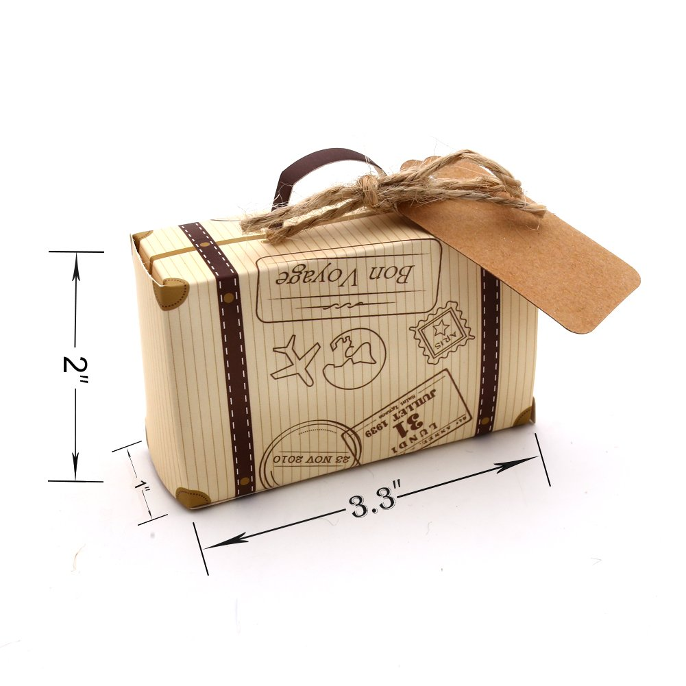 VGoodall Box 50pcs Mini Suitcase Favor Candy Vintage Kraft Paper with Tags and Burlap Twine for Wedding/Bridal Party Decoration by VGoodall (Image #2)