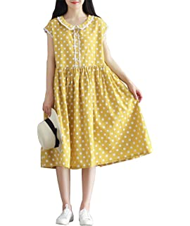 YUHEYUHE Womens Casual Loose Polka Dot Peter Pan Collar Summer Midi Linen Dress