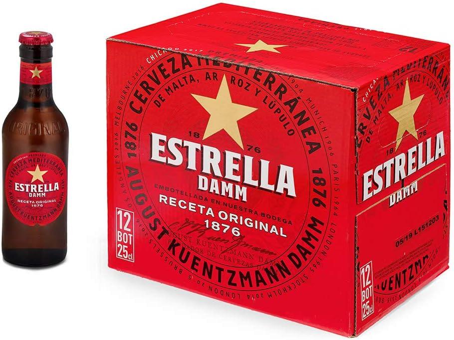 Estrella Damm, Cerveza Mediterránea - Paquete de 12 botellas x 250 ml, Total: 3000 ml