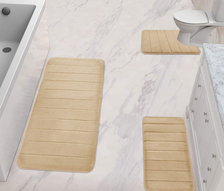 ESUPPORT Soft Absorbent Memory Foam Bath Rug Set 3 Pieces Seashell Non Slip Bathroom Mat Khaki U Shaped Contour Rug Toilet Lid Cover