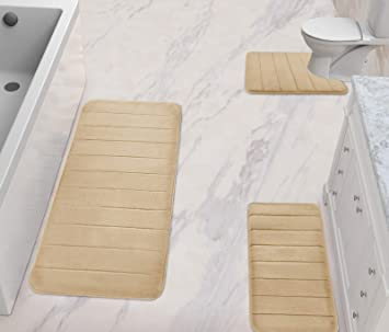Tub L and U-Shaped Size for Bathroom or Bedroom Rugs Contour Toilet Mats XL Non-Slip Maximum Absorbent Soft Comfortable Machine Washable Yimobra 3 Pieces Memory Foam Bath Mat Set Gray