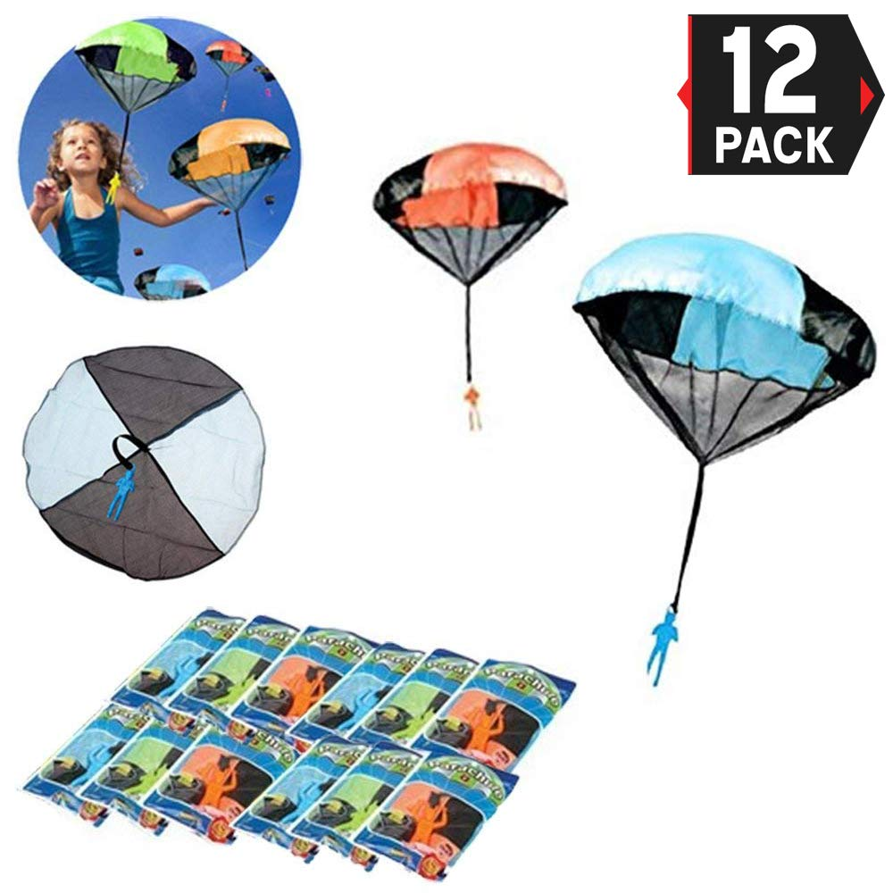 12 Pack - Tangle Free Throwing Toy Skydiver Parachute Man for Kids Bulk Party Favors - (4 Inches) by Liberty Imports