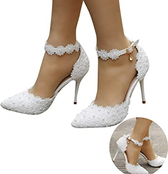Amazon Com Woman Bridal Shoes Pearl Lace Floral Embroidery