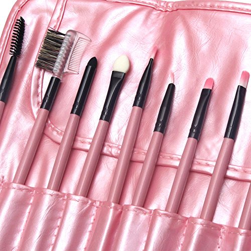 Esfeel 24 pcs Pink Professional Cosmetic Makeup Brush Set With Storage Bag + ONE FREE Pink Blending Foundation Sponge Puff