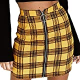 Women Elastic Waist Plaid Tartan Zipper Skirt Midi Pencil Comfy Skirt (XL, Yellow)