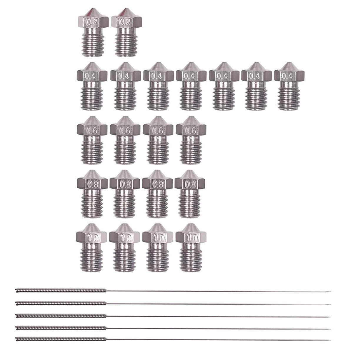 RETYLY 26 Piezas Boquillas de Impresora 3D de Acero Inoxidable ...