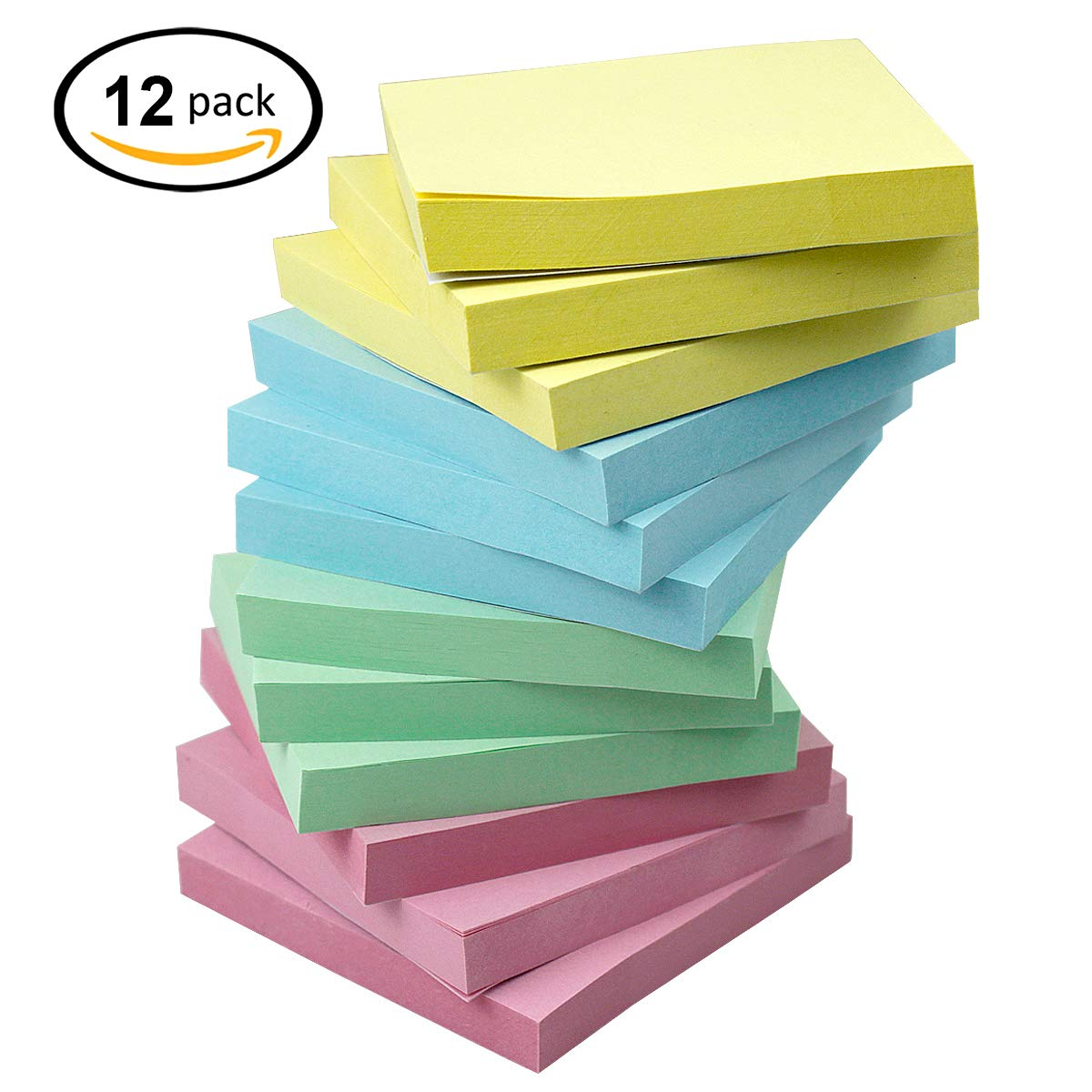 Sticky Notes,Disveo 12 Pads/Pack Colorful Sticky Notes 3x3inch 100 Sheet Per Pad Book Marks Memo Self-Stick with Strong Viscosity Message Pads for Office/Home/School (Green/Blue/Yellow/Pink)