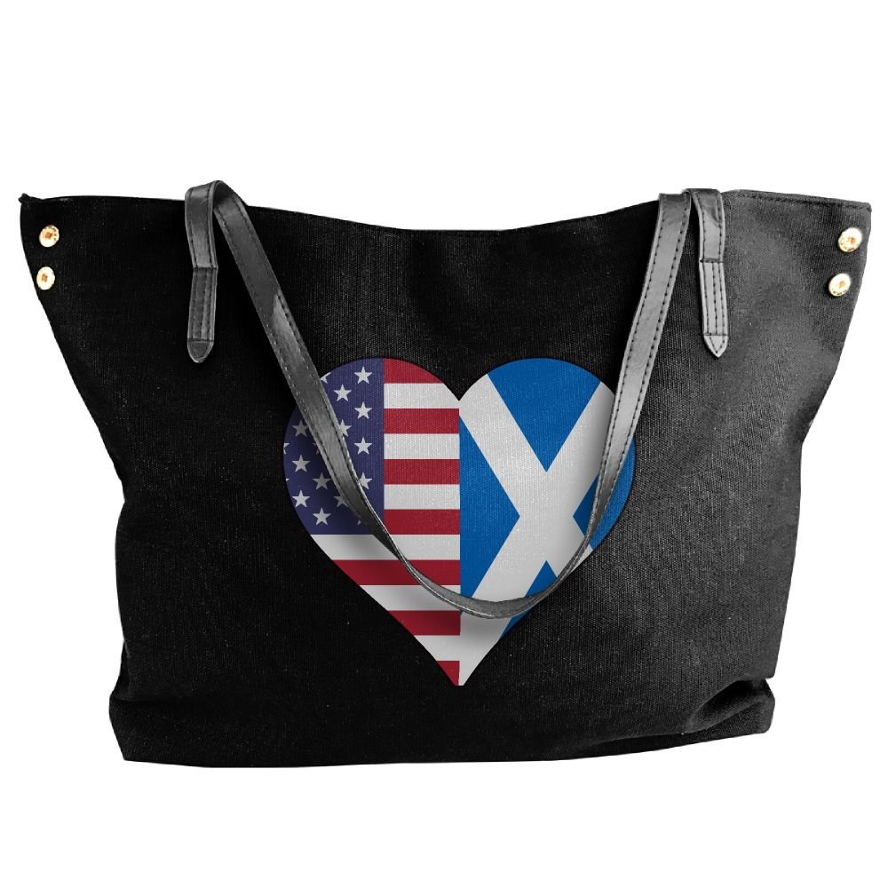 Women's Half Scotland Flag Half USA Flag Love Heart Canvas Shoulder Bag Handbags Tote Bag Casual Travel Bags