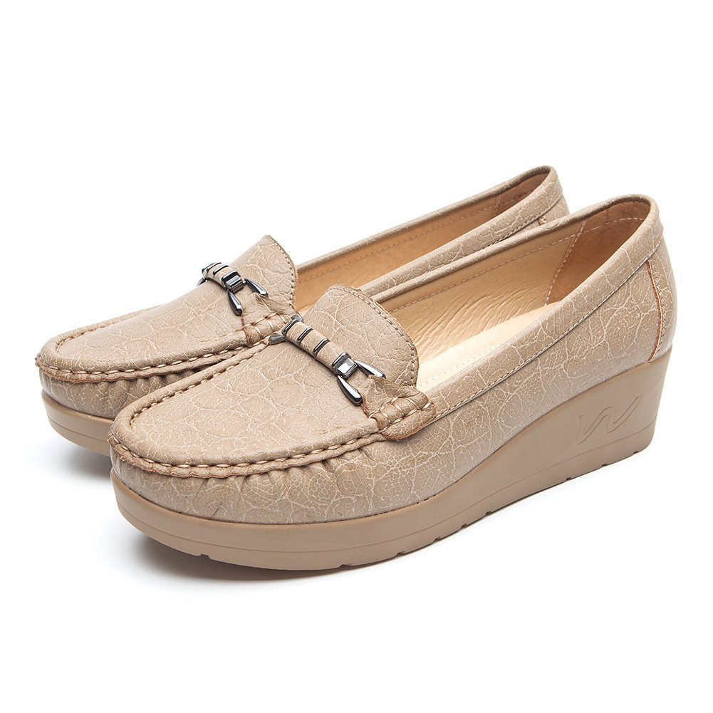 Chaussures Plates Noir Cuir Khaki2 pour Femmes - - Mocassin Cendfini Mesdames Compensee Mocassin Confortables, avec des Attaches en Métal à la Mode Chaussures, Convient pour Toutes Les Saisons Khaki2 9cc5a60 - automatisms.space