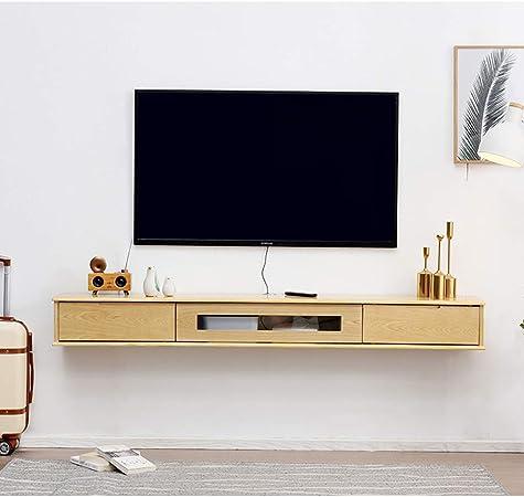 Sólido de madera flotante estante montado en la pared con cajones Media Console Router WiFi TV