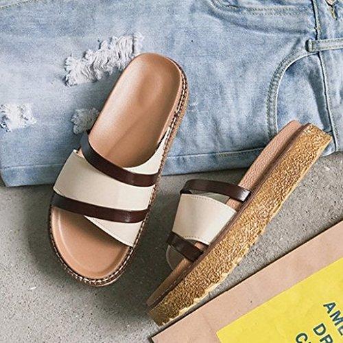 AJUNR Moda/elegante/Transpirable/Sandalias Fondo plano arrastrar y soltar calzado de playa bizcocho de 4cm de espesor zapatos zapatillas blanco 35 36