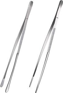 2 Pcs 12-Inch Fine Tweezer Tongs,Extra-Long Stainless Steel kitchen Tweezers Tongs culinary tweezers set,tweezers for food