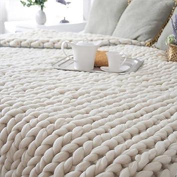 Raylans Couverture en tricot épais faite à la main Tapis pour canapé, animal  domestique, 7dafb73e632
