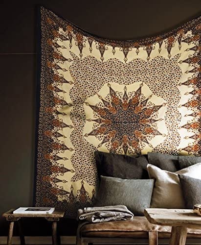 Popular Handicrafts Hippie Mandala Intricate Floral Design Indian Bedspread Tapestry 84×90 Inches, 215cmsx230cms Brown Black