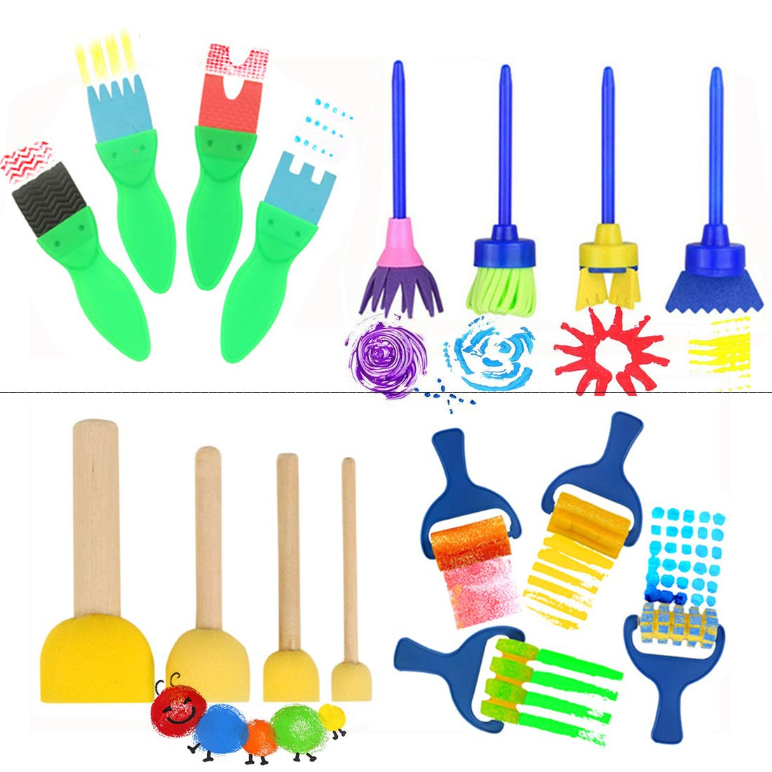 16 PCS - Paint Brushes for Kids, Artist Paint Texture Brushes - Early Learning Graffiti Paint Brush EVA Sponges Foam Painting Tools Set for Kids Painting Drawing Crafts and DIY YWHB