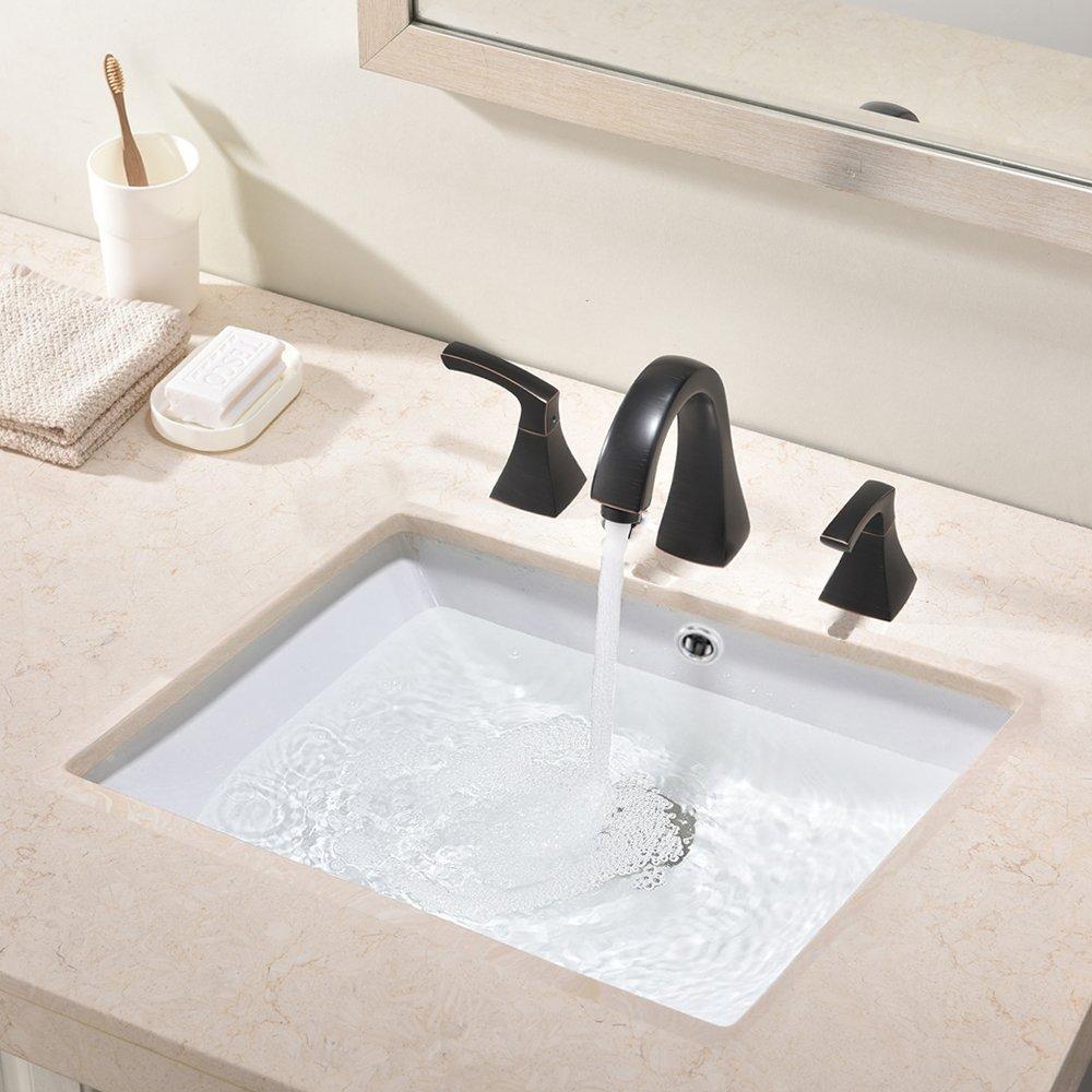 VAPSINT Elegant Bathroom Rectangular Porcelain Ceramic Undercounter Vanity Bathroom Sink, White Vanity Sink with Overflow