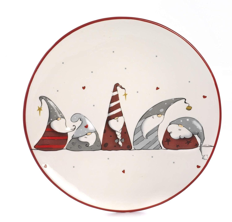 Paben Noel Piatto Natalizio con Decorazione Gnomi in Ceramica diameto cm. 26, 2