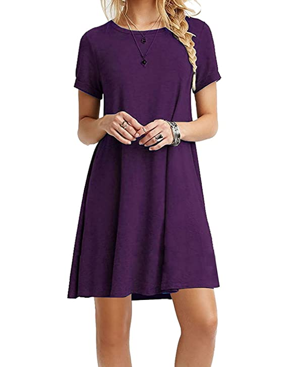 MOLERANI Women's Casual Plain Simple T-Shirt Loose Dress (XS, 14-Purple)