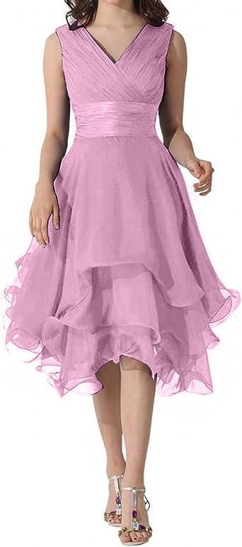 Charmant damska sukienka wieczorowa z szyfonu, z dekoltem w kształcie litery V, dla druhny, na imprezę, długość do kolan: Odzież