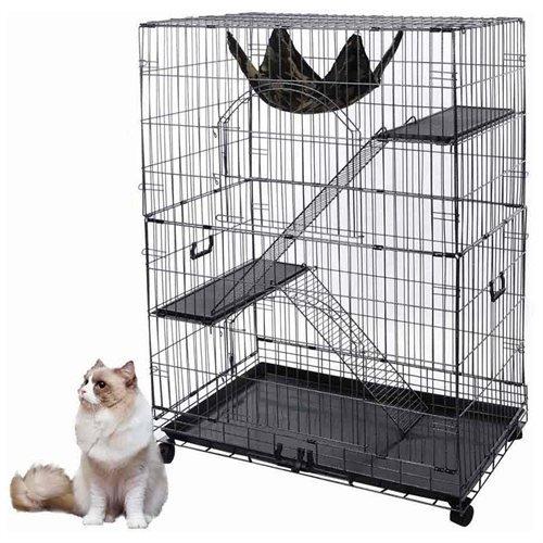 Black-Pet-Cat-Crate-Cage-Playpen-Kennel-Bed-Hammock