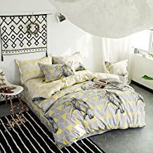 Svetanya Simple Brief Style Floral Duvet Cover Set Flat Sheet Pillow Cases 500TC 100% Soft Cotton Fabric Bedding Sets King Size
