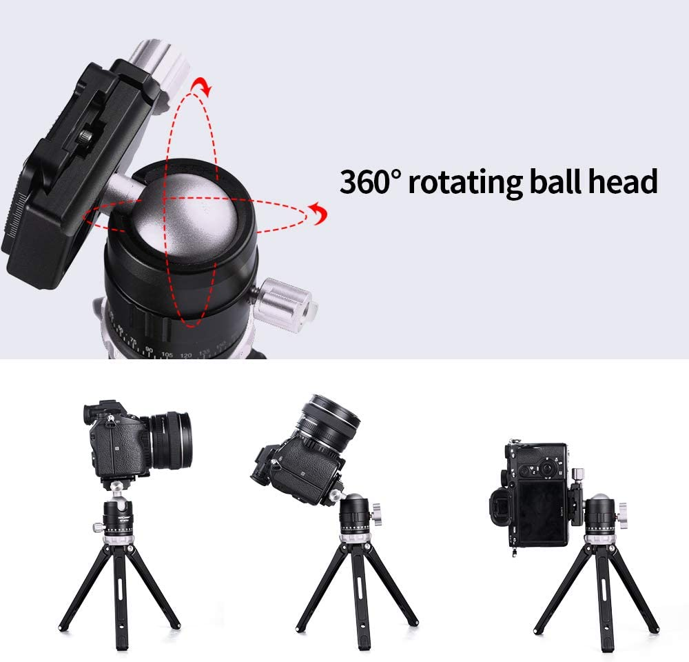 K/&F Concept Mini Stativ Belastung 15KG Tischstativ aus Alumiumlegierung Max Kamerastativ mit 360/°Kugelkopf und 3 Gurte f/ür Canon Nikon Sony Panasonic