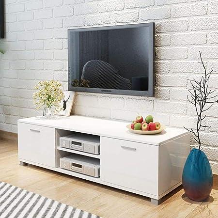 UnfadeMemory Mueble para TV,Mesa para TV,Decoración de Dormitorio,con 2 Repisas y 2 Compartimientos,Estilo Moderno,MDF (Blanco Brillante, 120x40,3x34,7cm): Amazon.es: Hogar