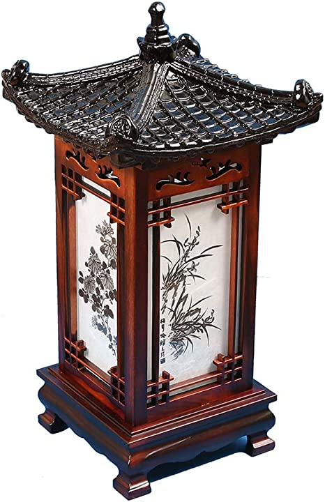Carved Wood Lamp Handmade Traditional Korean Roof And Window Design Art Deco Lantern Brown Asian Oriental Bedside Bedroom Accent Unusual Table Light Amazon Com